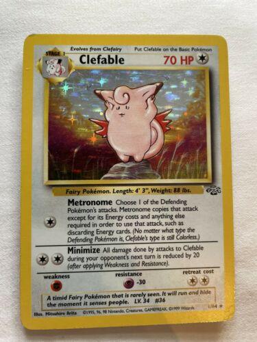 EXC Pokemon Card - Jungle Set Holo-foil Rare 1//64 Clefable Miscut