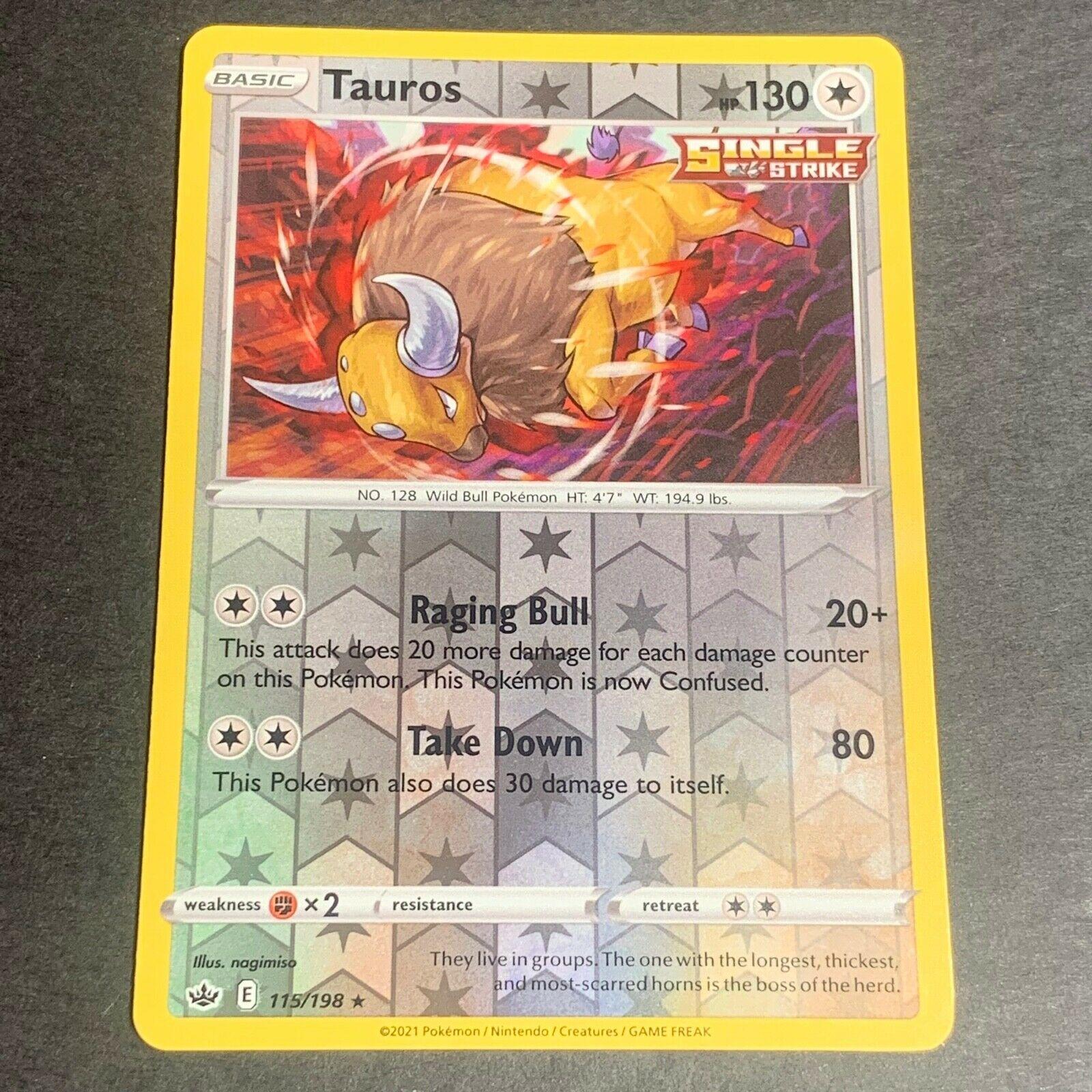 Pokemon S&S Chilling Reign Set REVERSE HOLO (R.) Tauros 115/198 - Near Mint (NM)