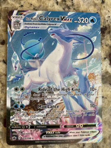 Pokemon Ice Rider Calyrex VMAX Secret Rare Full Art Chilling Reign 203/198 NM/M