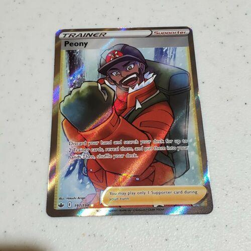 Pokemon Peony 197/198 Full Art Chilling Reign Ultra Rare Holo Card