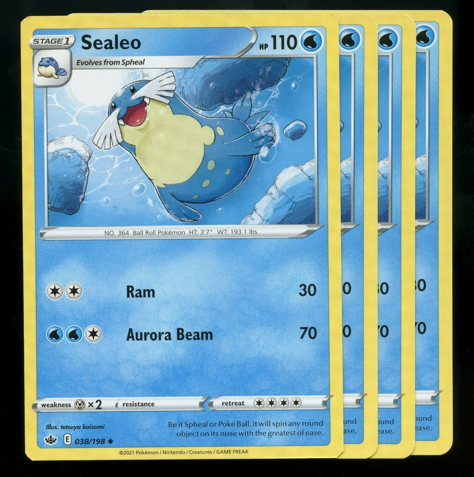Pokemon Cards x4 Sealeo 038/198 Chilling Reign Playset Excellent