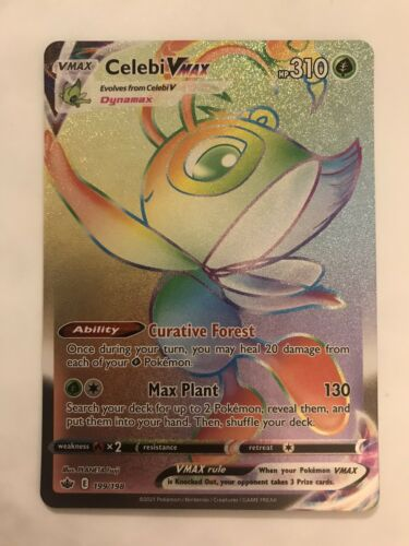 Chilling Reign 2021 Pokemon Celebi VMAX 199/198 Secret Rainbow Rare MINT