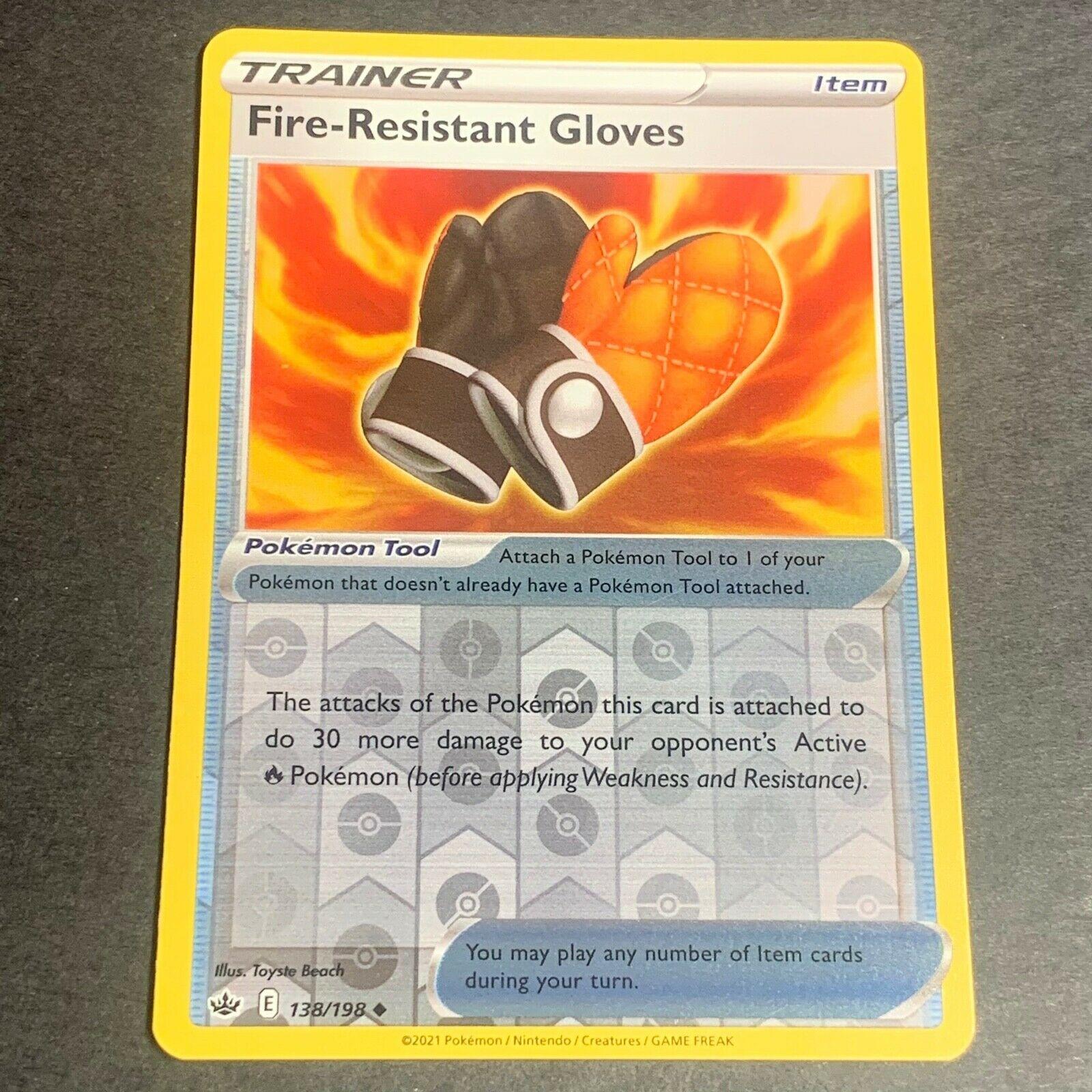 Pokemon S&S Chilling Reign REVERSE HOLO (Un.) Fire-Resistant Gloves 138/198 - NM