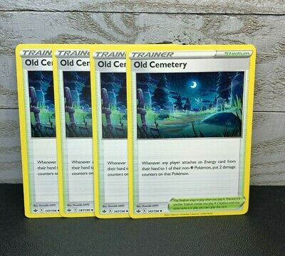 4x Old Cemetery 147/198 Trainer Uncommon  Pokemon Card Chilling Reign M/NM