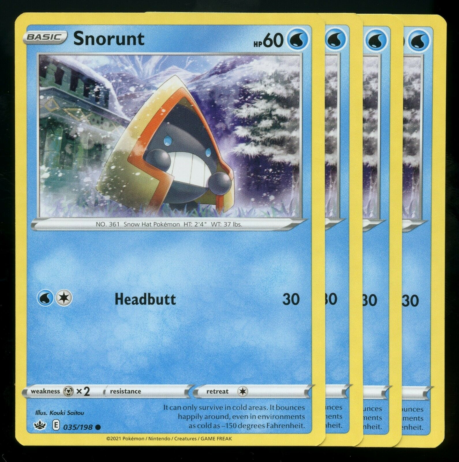 Pokemon Cards x4 Snorunt 035/198 Chilling Reign Playset NM