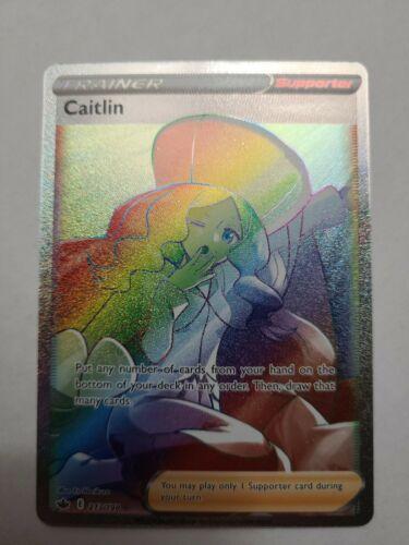 Caitlin FULL ART RAINBOW SECRET RARE 213/198 Pokémon 2021 Chilling Reign NM-MINT