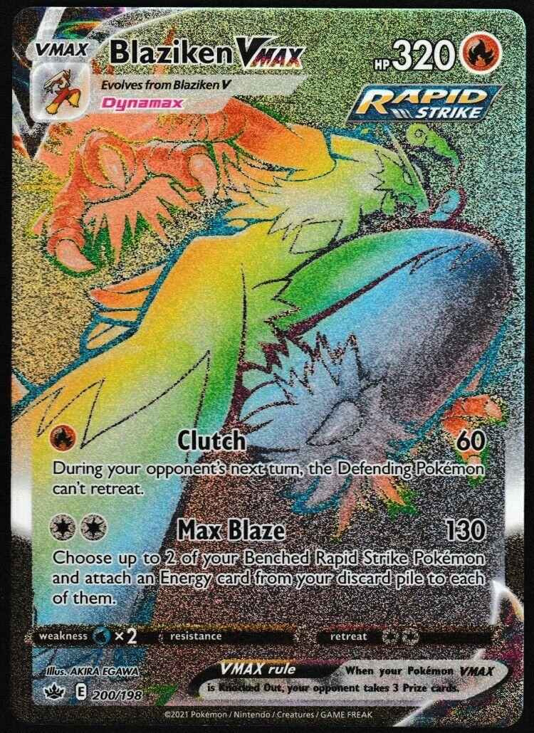 ⭐ Blaziken VMAX  ( 200/198 )  Chilling Reign Rainbow Secret Rare Pokemon Card