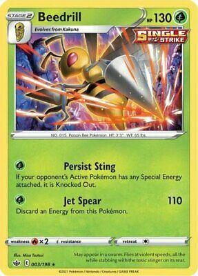 4x Beedrill - 003/198 - Holo Rare NM-Mint Pokemon SWSH6 - Chilling Reign