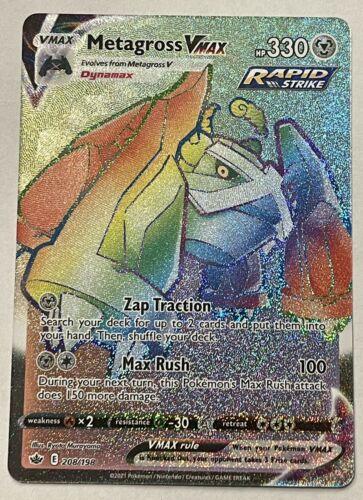 Metagross VMAX 208/198 NM Chilling Reign Rainbow Secret Rare Pokemon Card - Image 1