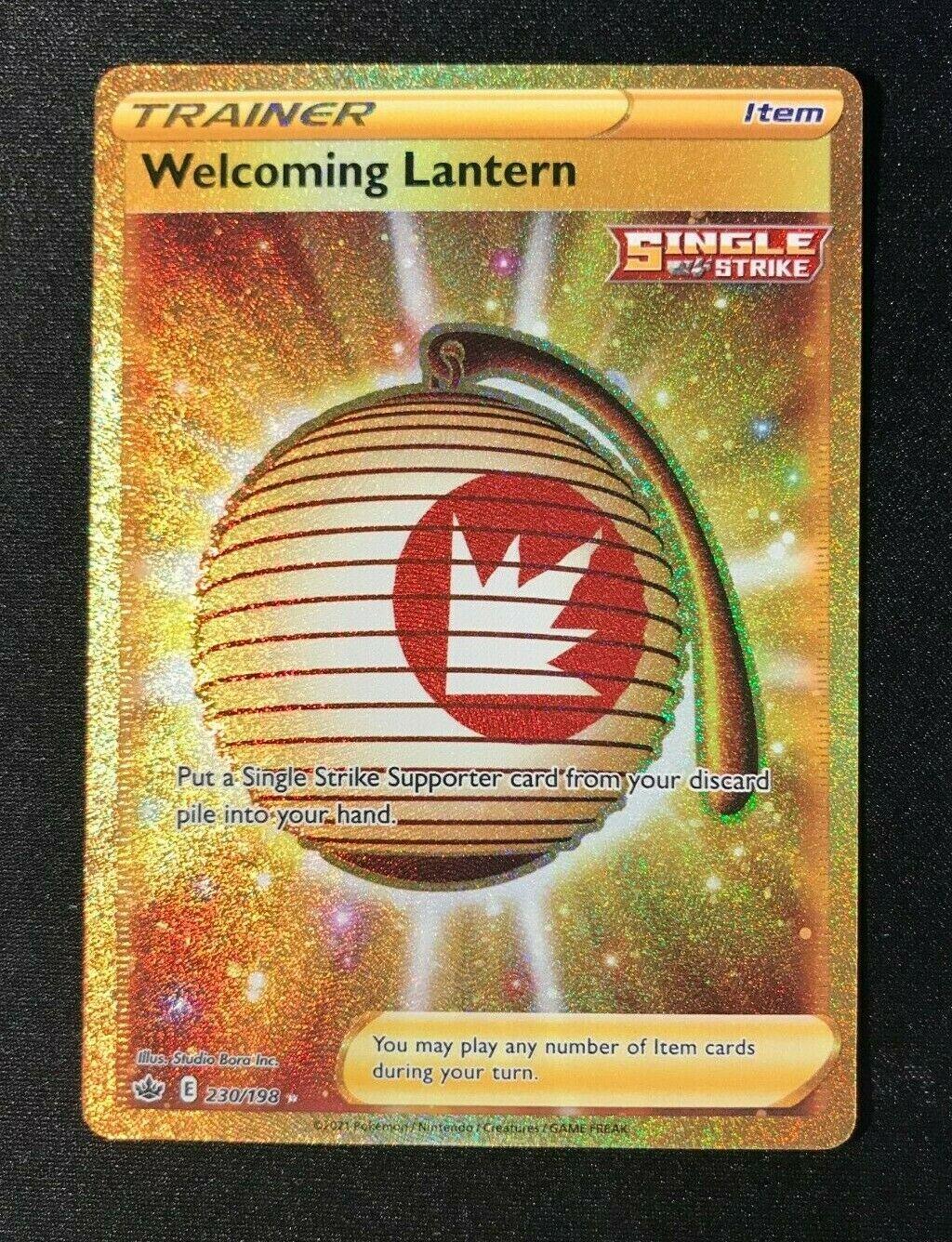Welcoming Lantern Gold Secret Rare 230/198 Pokemon Chilling Reign NM