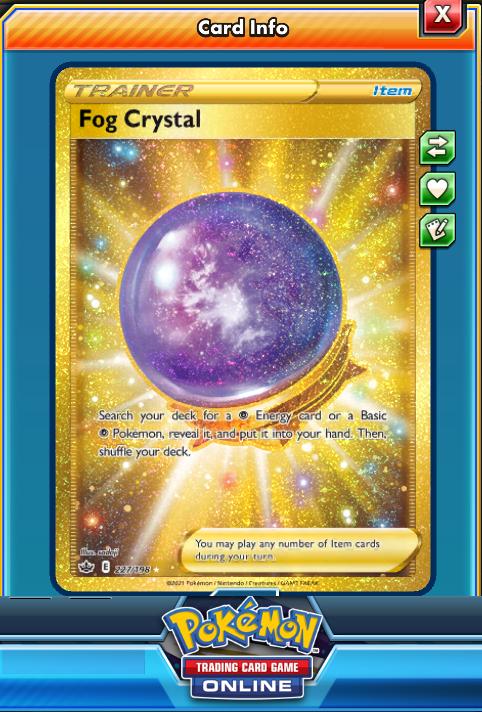 Fog Crystal SR SECRET RARE Online digital card - Pokemon Chilling Reign 227/198