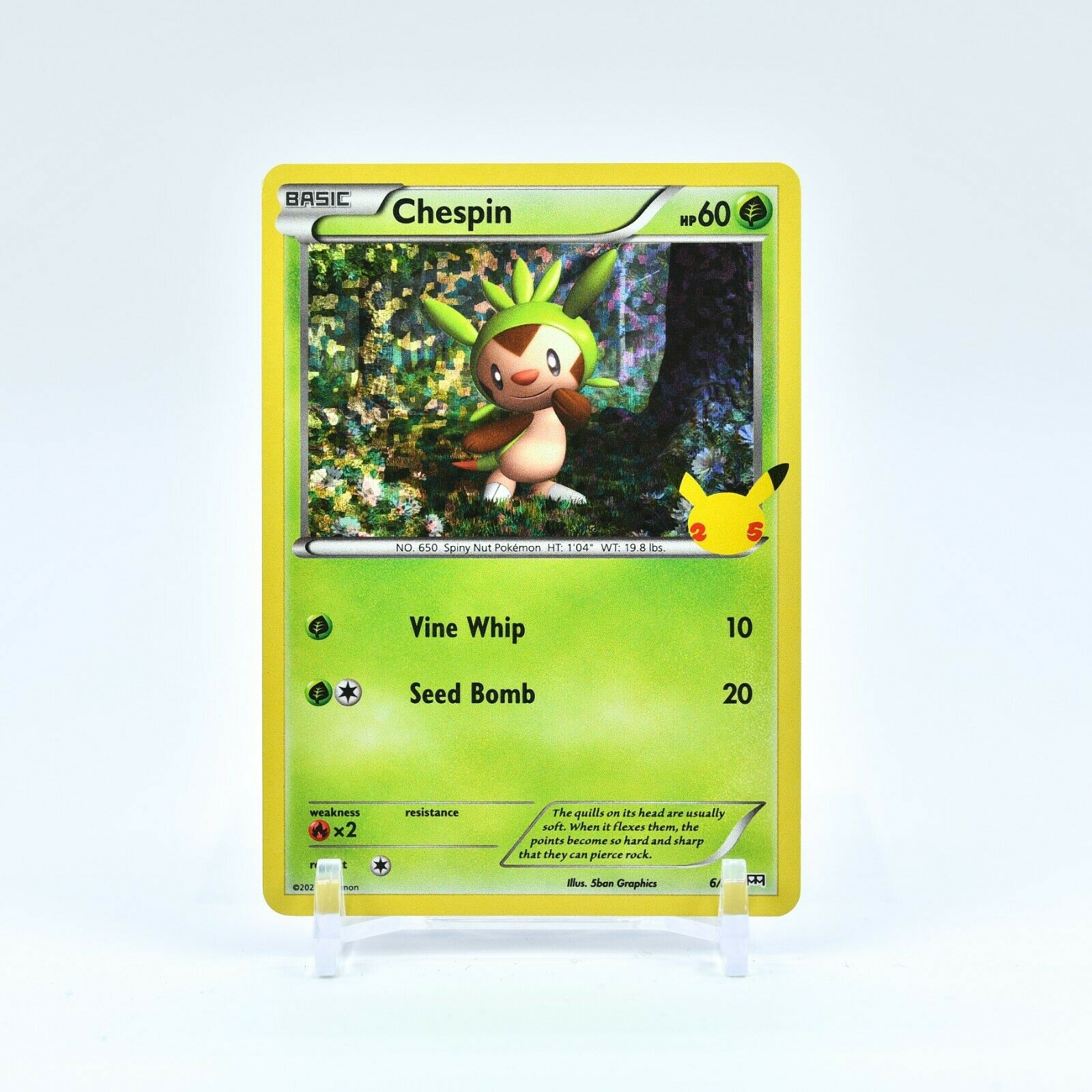 Chespin - 6/25 Mcdonald's 25th Anniversary Holo Starter Pokemon - NM/MINT