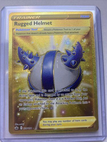 Pokemon TCG Rugged Helmet 228/198 Gold Secret Rare Chilling Reign NM/Mint
