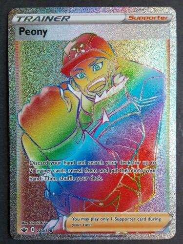 Pokemon  - Peony - 220/198 - Secret Rare/Rainbow Rare - Chilling Reign  - NM/M