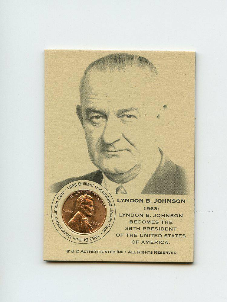 #LK.1363 LYNDON B. JOHNSON 1963 Lincoln Penny Insert Trade Card RARE - Image 1