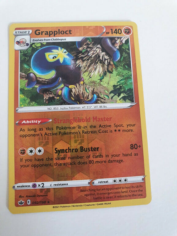 Pokemon SWSH Chilling Reign Grapploct 092/198 Reverse Holo Rare card