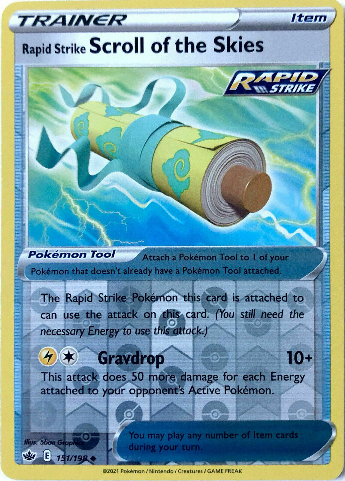 Pokemon -RAPID STRIKE SCROLL OF THE SKIES 151/198- R. Holo -Chilling Reign -NM/M