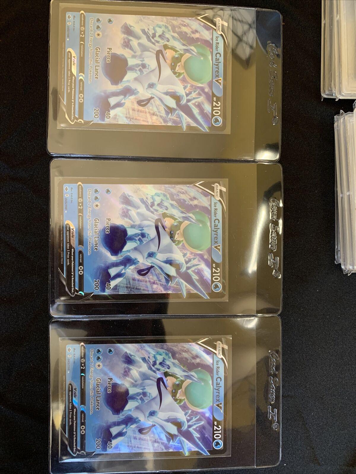 3 Pokemon TCG Ice Rider Calyrex V 045/198 Ultra Rare Chilling Reign NM/Mint!