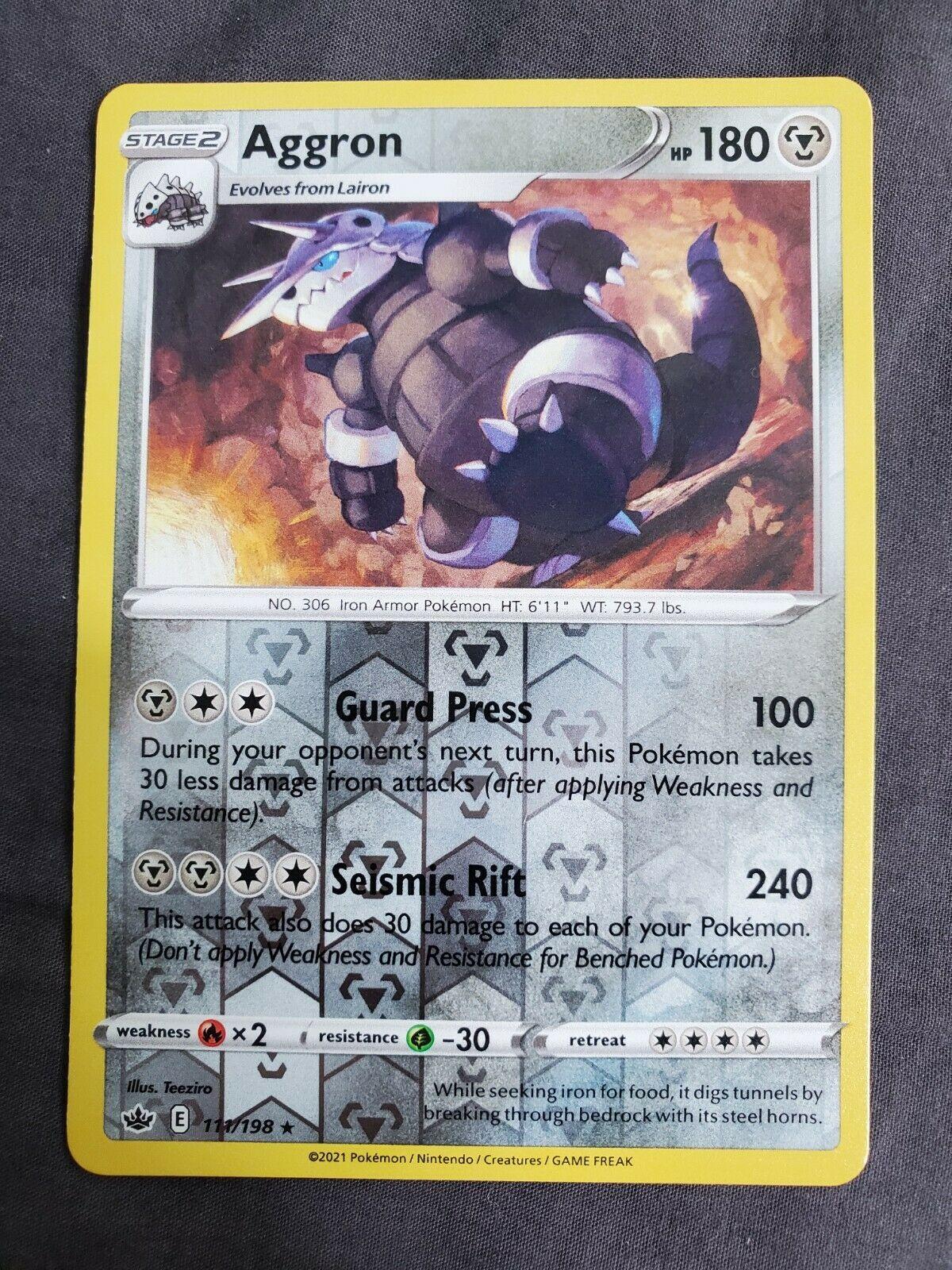 Aggron - 111/198 - Rare - Reverse Holo Pokemon SS06 Chilling Reign M/NM - Image 1