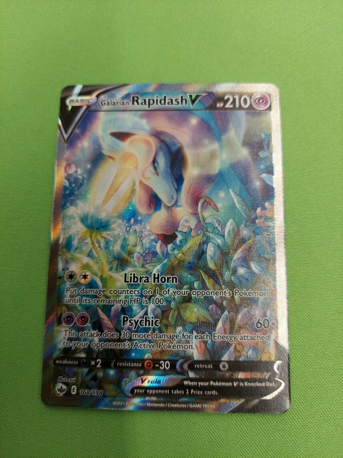Pokemon Chilling Reign Galarian Rapidash V Holo Card #168/198 *MINT CONDITION*