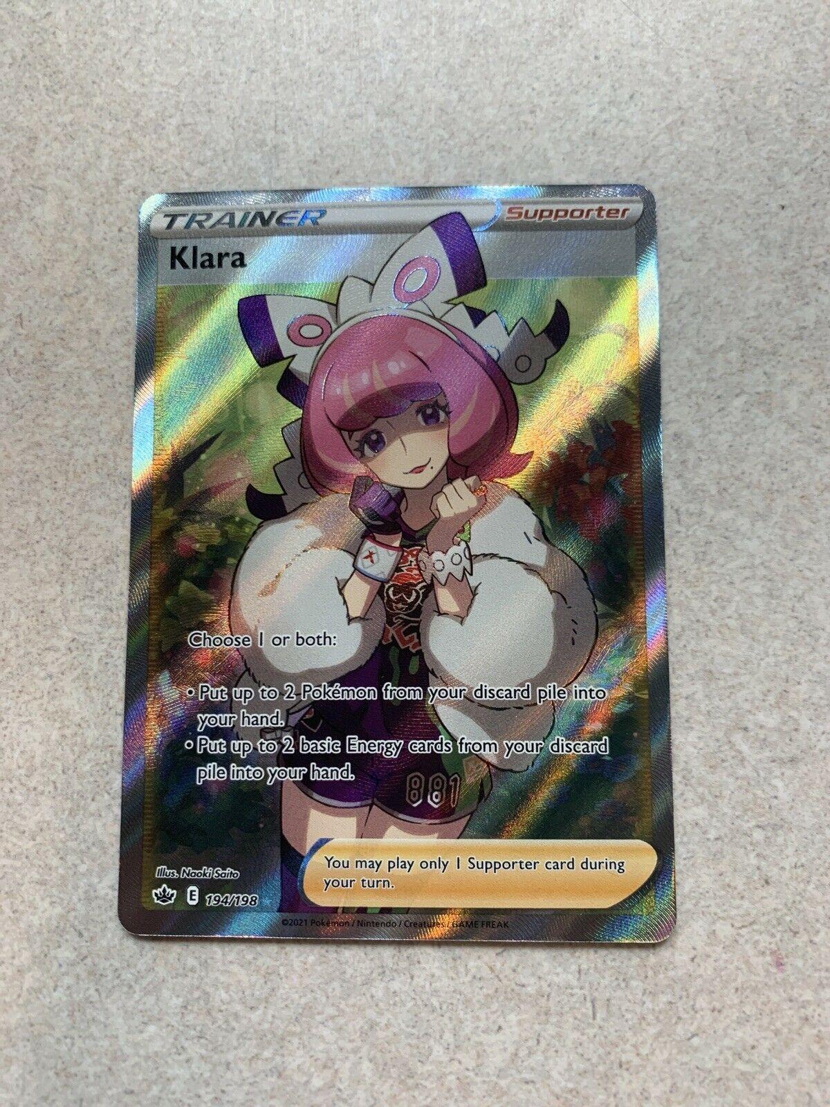 Klara 194/198 Full Art Secret Rare Trainer Chilling Reign Pokemon TCG NM/M