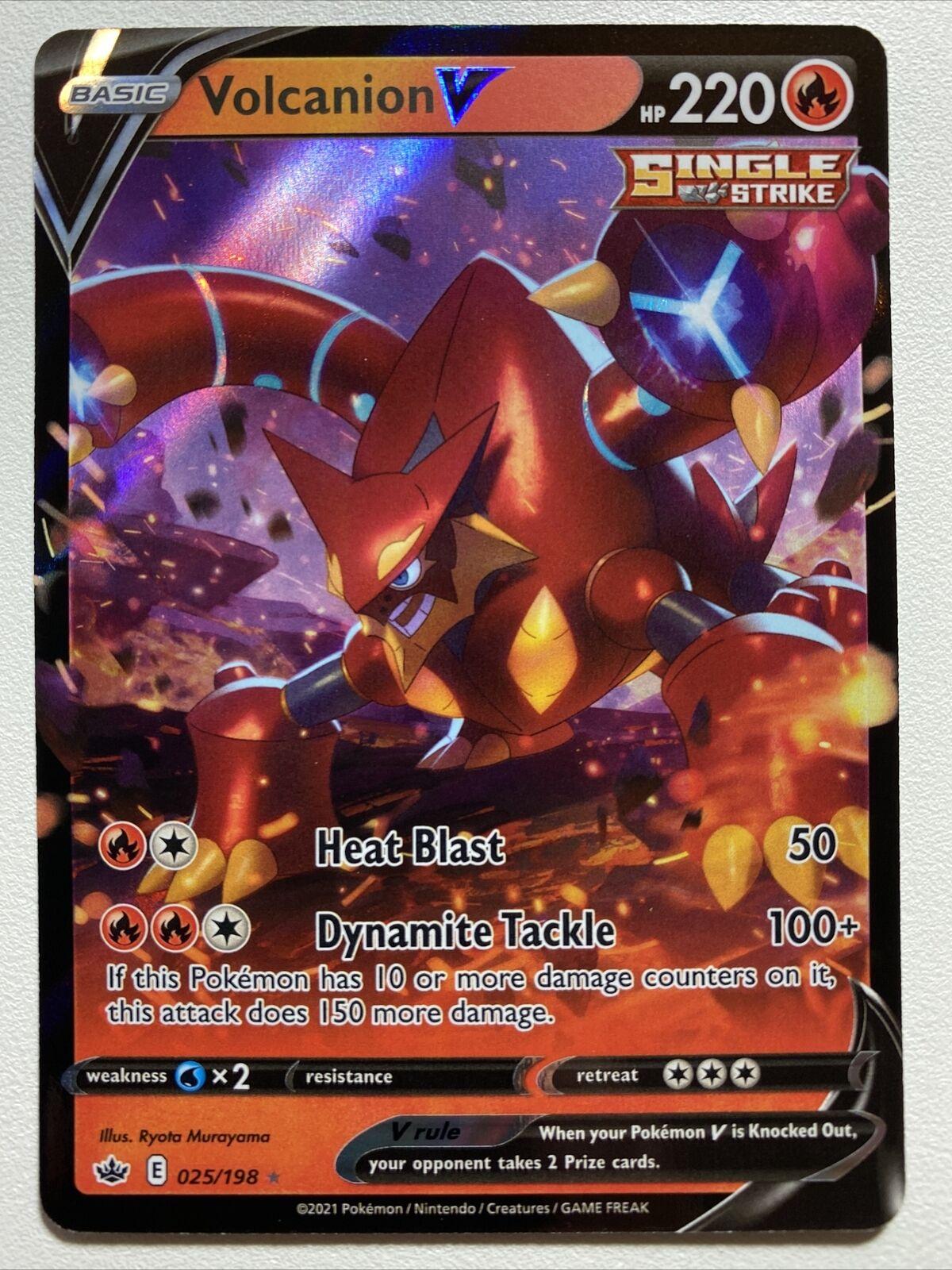 Pokemon Holo NM Single Strike Volcanion V 025/198 Chilling Reign