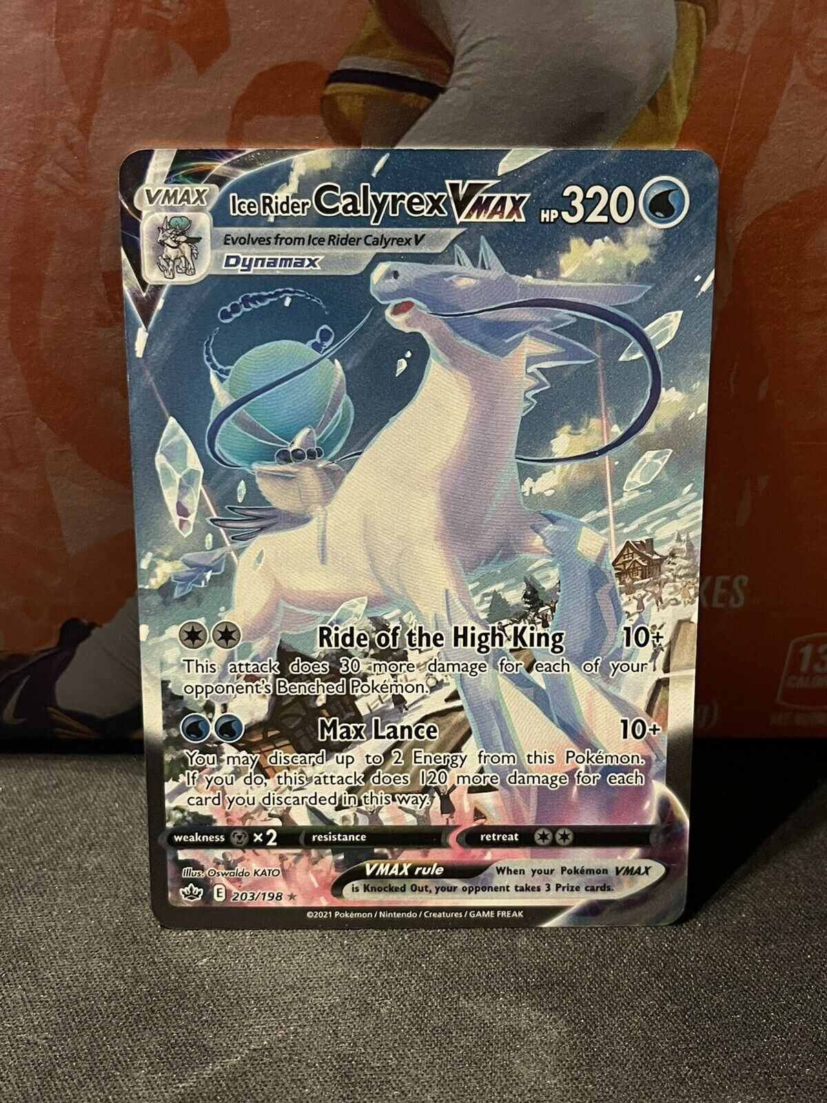 Ice Rider Calyrex VMAX 203/198 Alternate Art Chilling Reign Pokemon Card