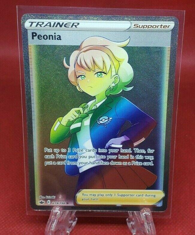 Peonia Trainer Pokemon TCG Chilling Reign Rainbow Secret Rare 219/198 Fresh Pull