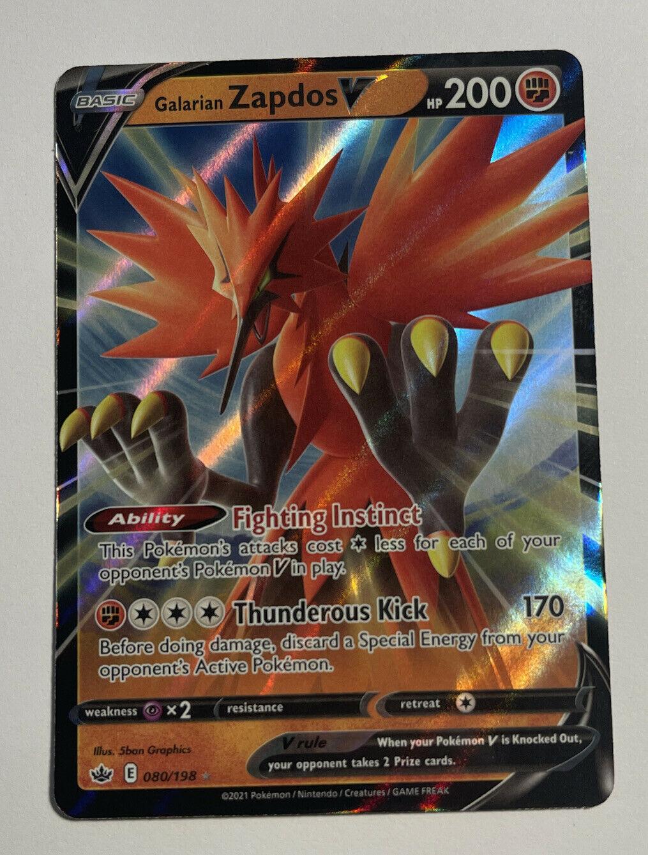 Pokemon Card Galarian Zapdos V 080/198 Chilling Reign HOLO RARE LP