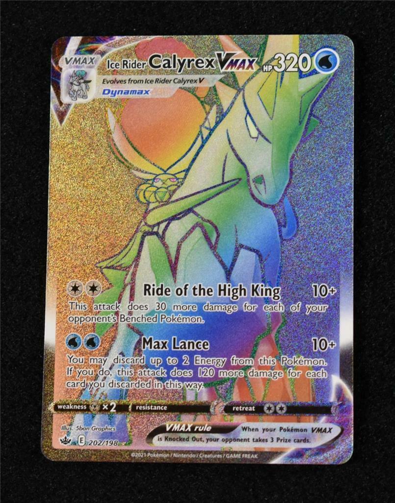 Pokemon Chilling Reign: Ice Rider Calyrex VMax Rainbow Secret Rare 202/198