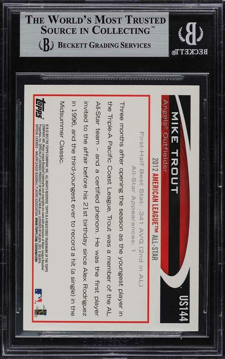 2012 Topps Update Gold Sparkle Mike Trout ROOKIE RC #US144 BGS 8.5 NM-MT+ - Image 2