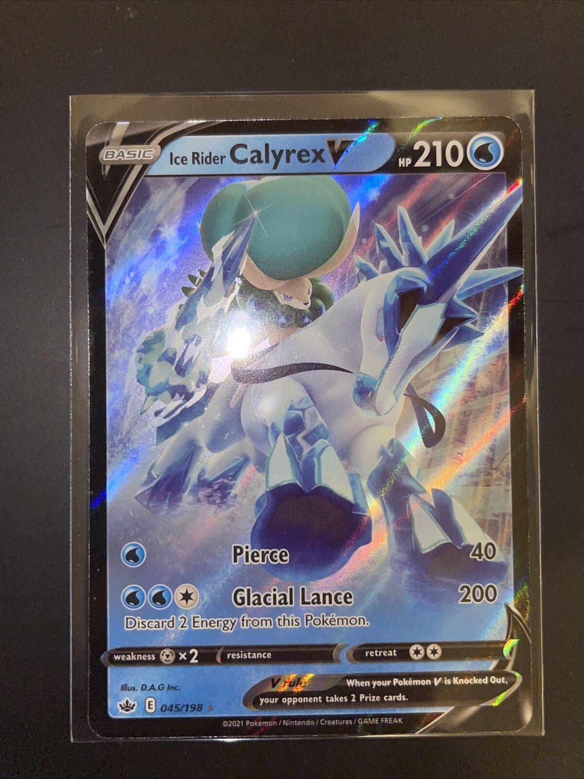 🔥 Ice Rider Calyrex V 045/198 Ultra Rare Full Art Chilling Reign Nm-Mint