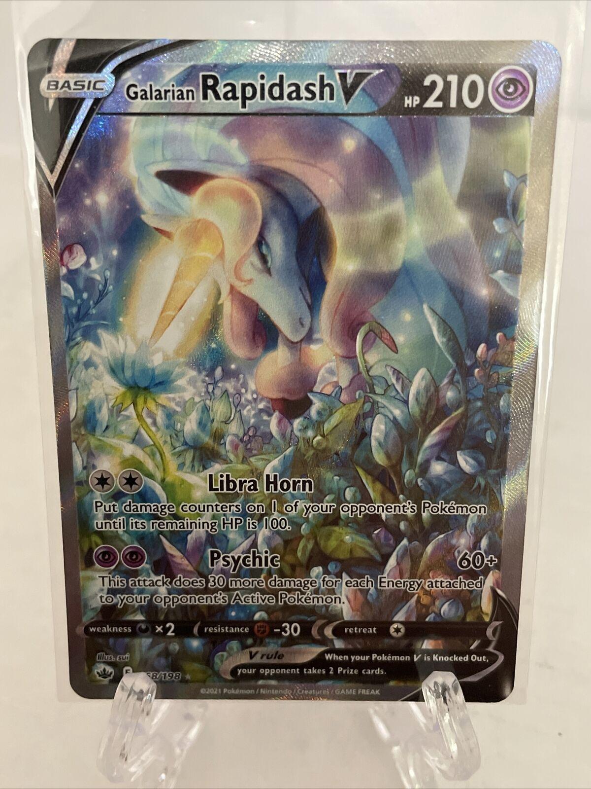 Pokemon Galarian Rapidash V Alternate Art 168/198 - Chilling Reign Mint