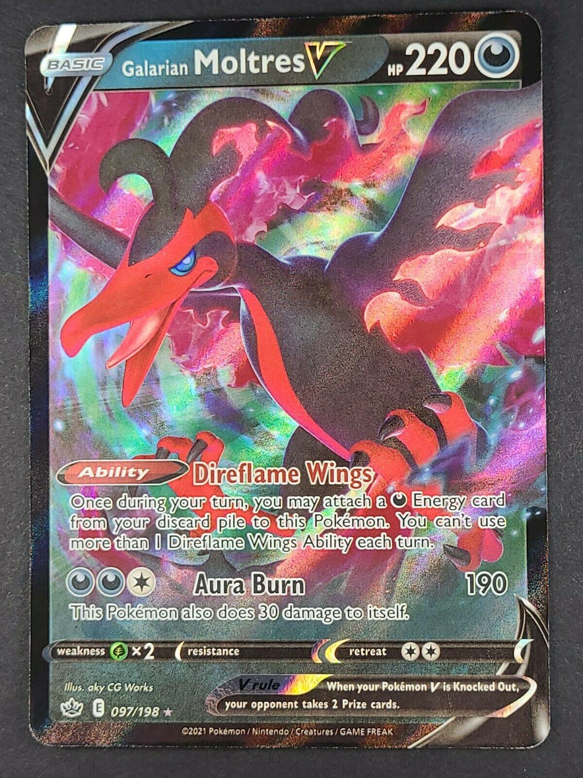 Galarian Moltres V 097/198 Pokémon TCG Chilling Reign Ultra Rare Near Mint