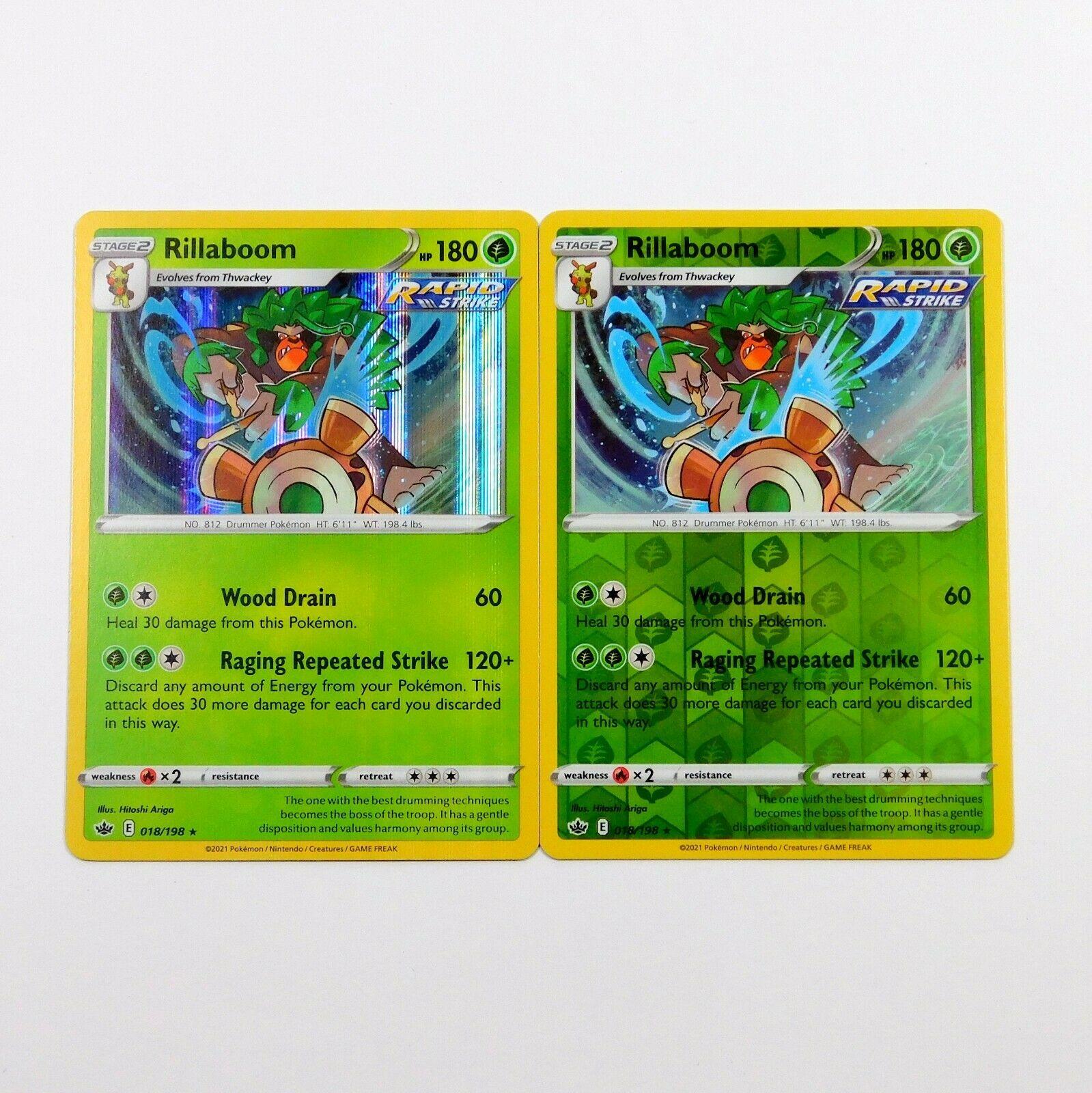 Rillaboom 018/198 Holo Rare Reverse Holo Chilling Reign Pokemon Card Set NM/M
