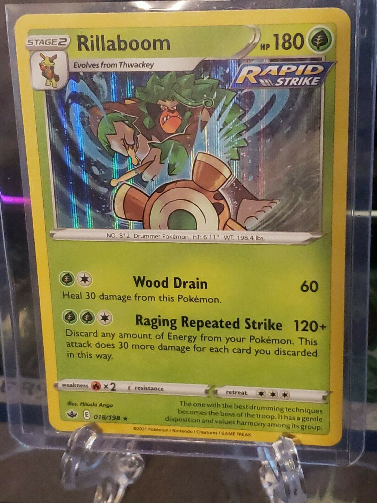 Rillaboom 018/198 Pokemon Chilling Reign Holo Rare Near Mint