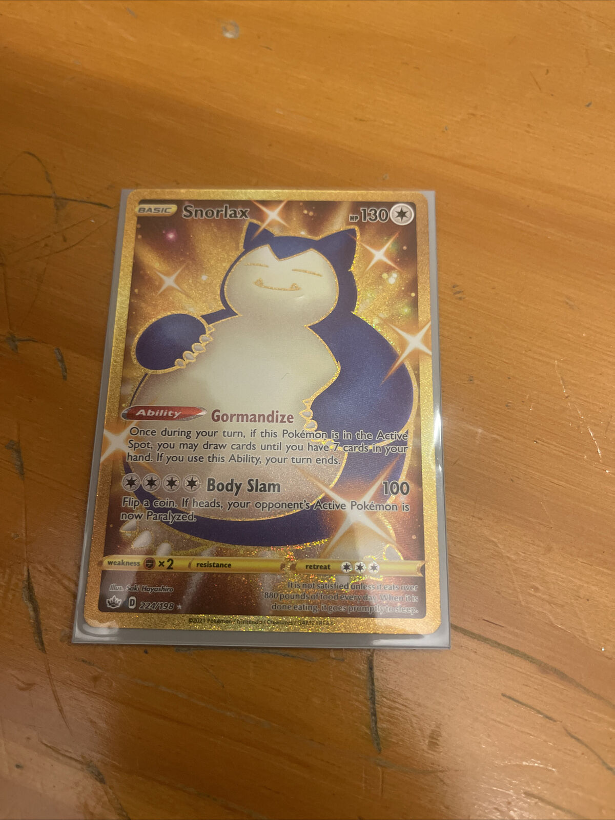 Shiny Snorlax 224/198 Chilling Reign Gold Rare Pokémon Card (From Box to Sleeve)