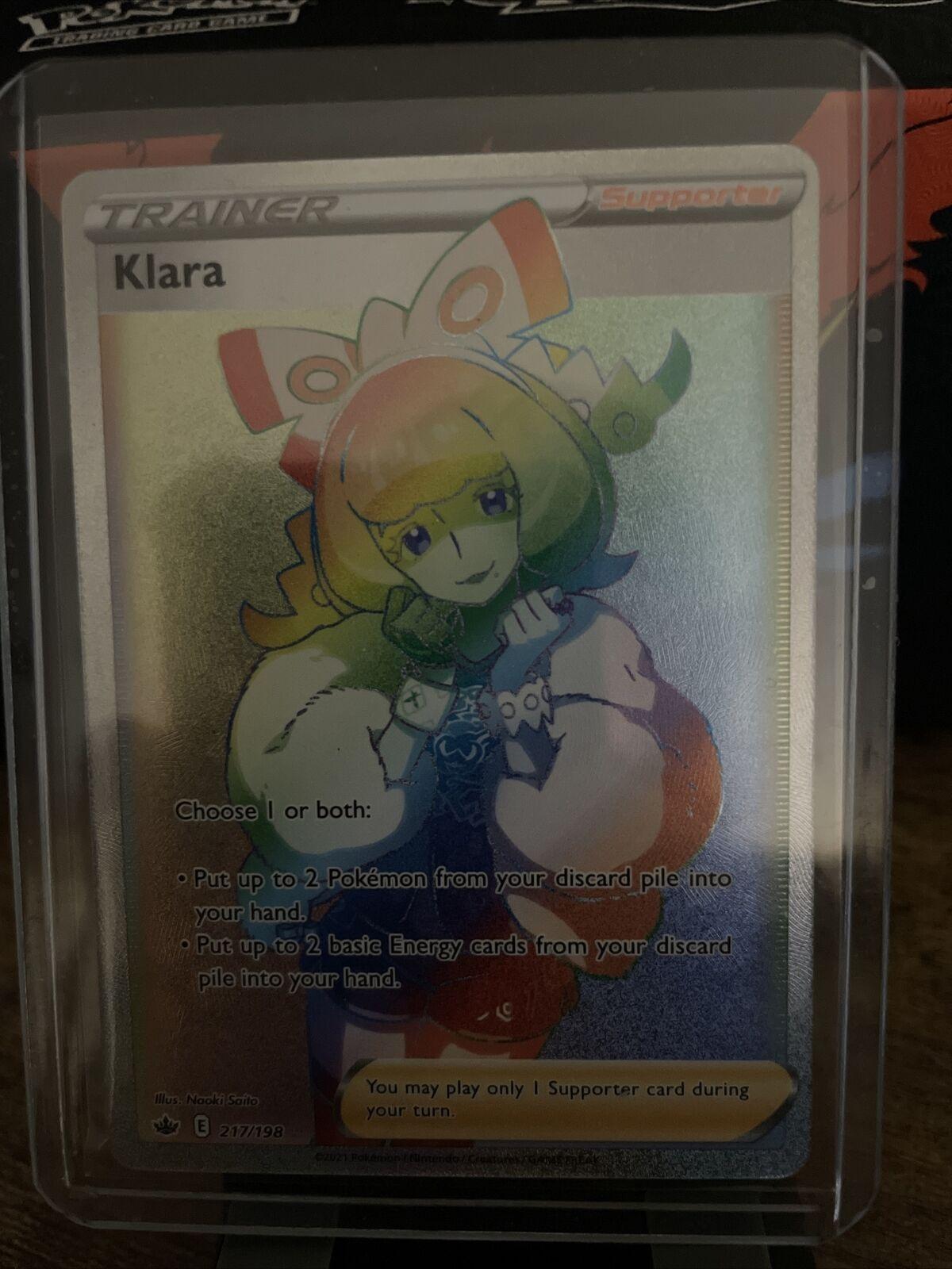 Klara Rainbow Rare Secret Rare 217/198 Chilling Reign Pokemon Full Art NM+