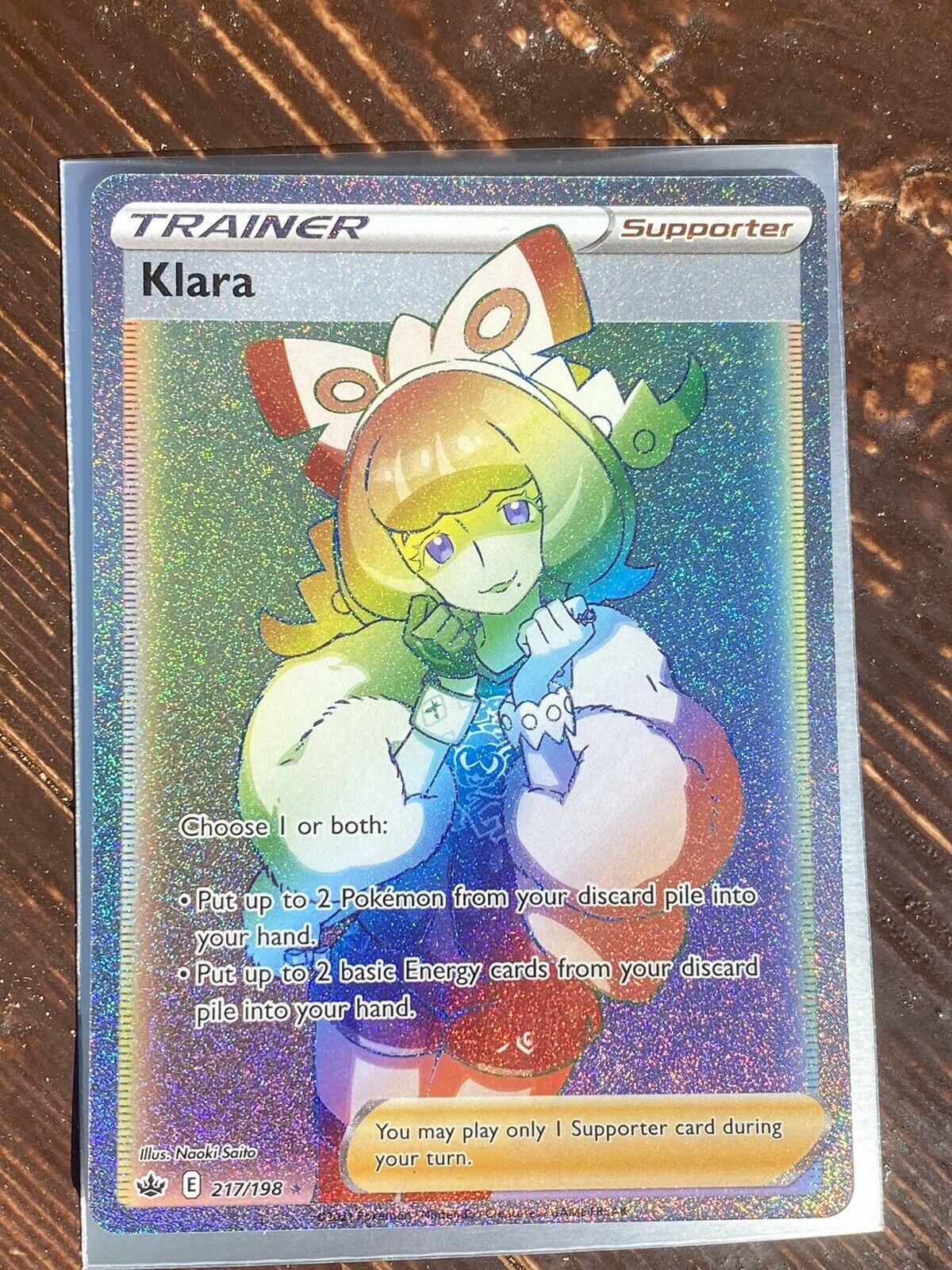 Pokemon Chilling Reign Klara Rainbow 217/198 English In Hand Secret Rare Fresh