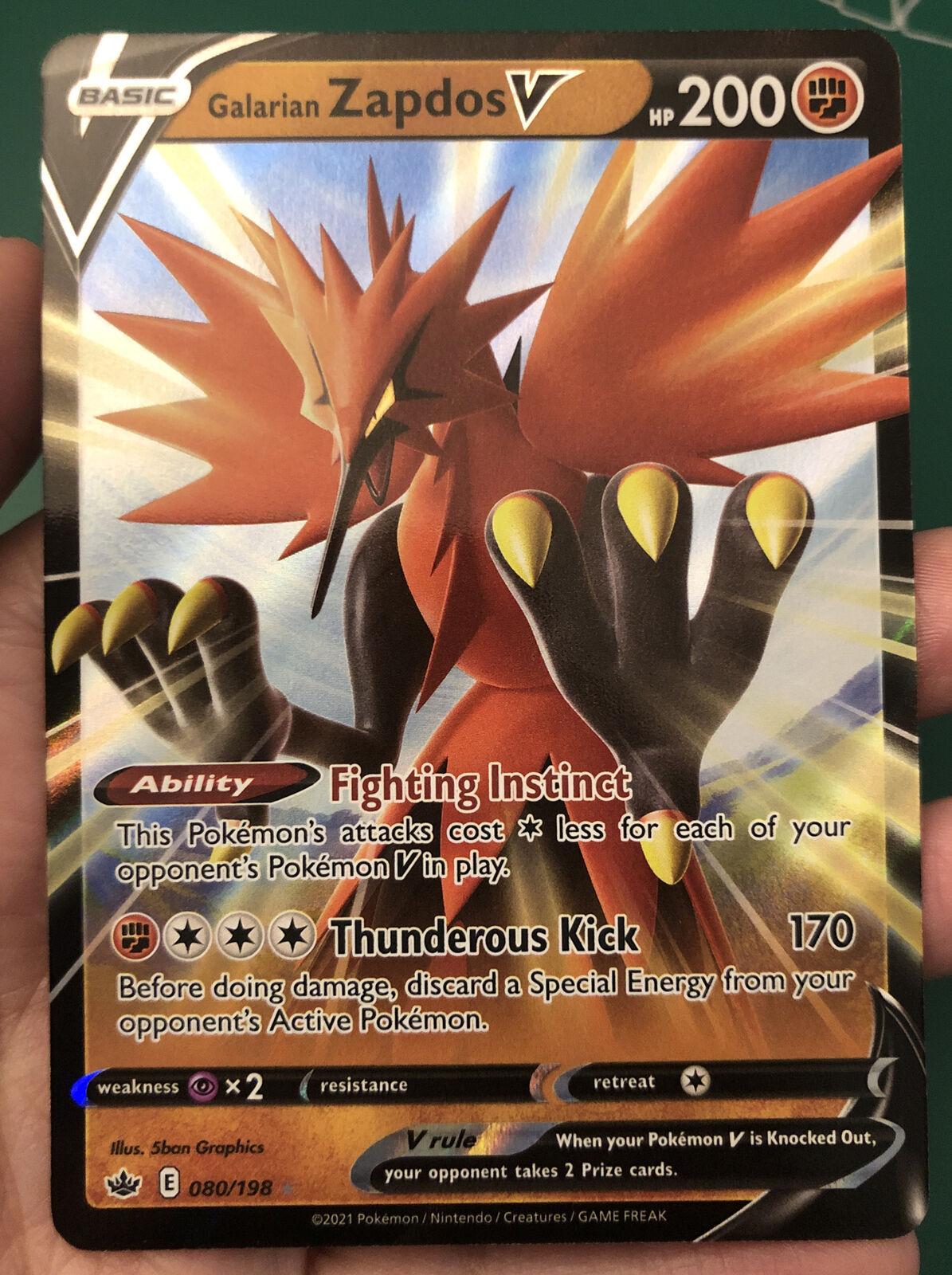 Galarian Zapdos V 080/198 Full Art Ultra Rare Pokemon Chilling Reign NM/M