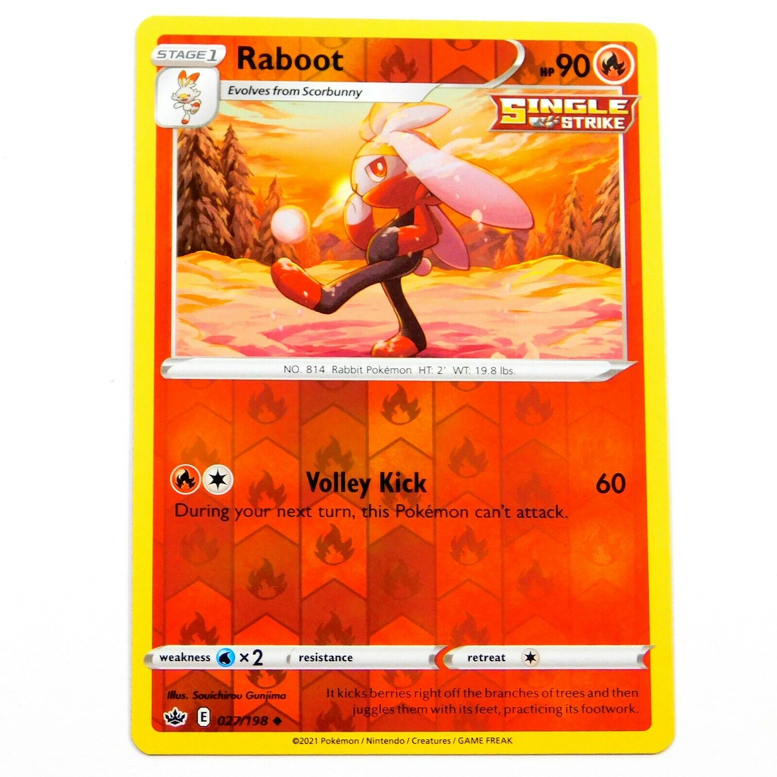 Raboot 027/198 Reverse Holo Chilling Reign Pokemon Card NM/M