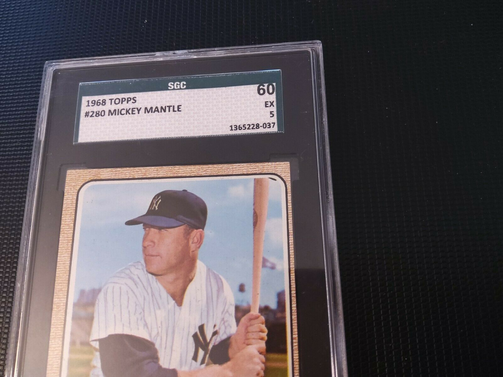 1968 TOPPS BASEBALL #280 MICKEY MANTLE SGC 5 EXCELLENT (60), Nice Corners - Image 3