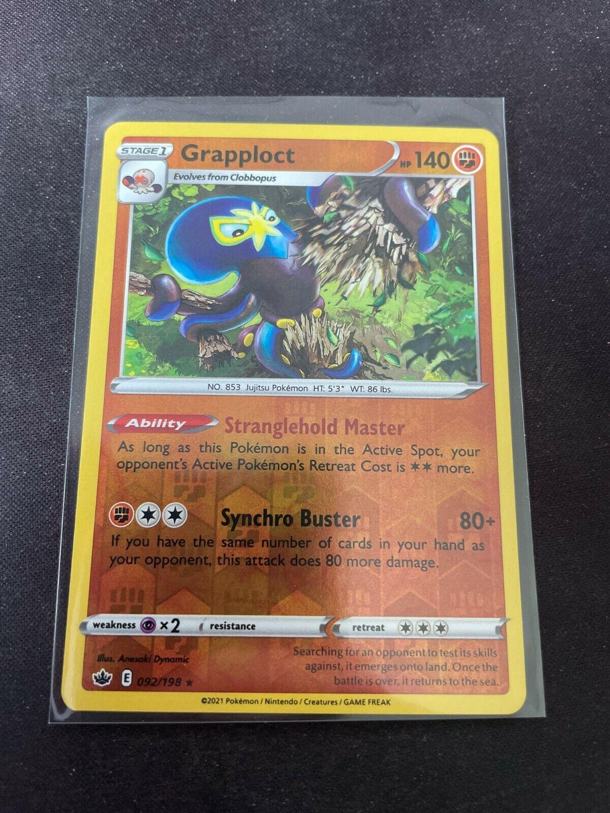 Pokemon TCG Chilling Reign 092/198 Grapploct Card Fresh Reverse Holo Mint Rare