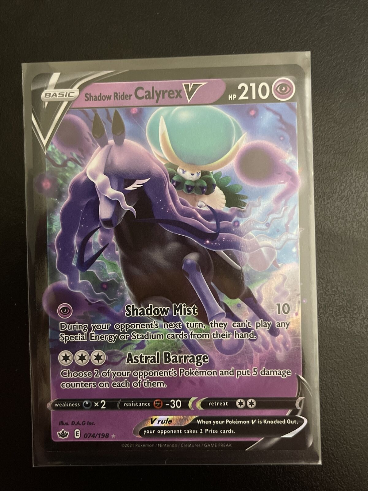 Pokemon TCG - Chilling Reign - Shadow Rider Calyrex V Rare Holo 074/198