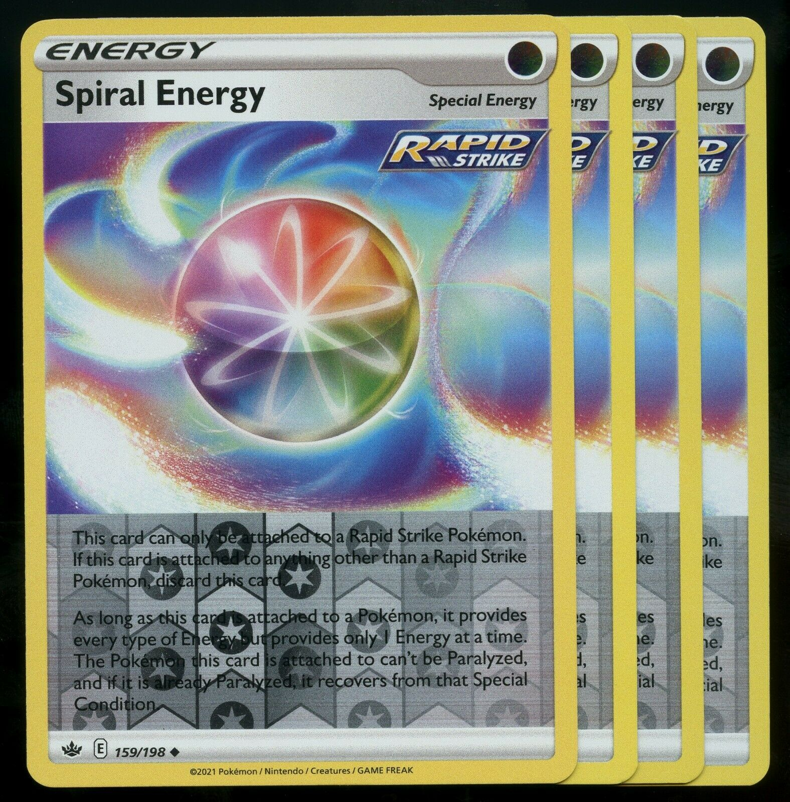 Pokemon Cards x4 Spiral Energy 159/198 Reverse Holo Chilling Reign Playset LP