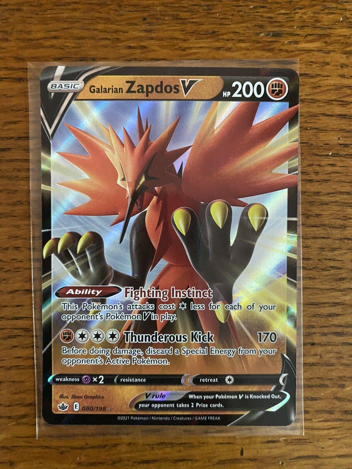 Galarian Zapdos V 080/198 Ultra Rare Chilling Reign Pokemon TCG Near Mint