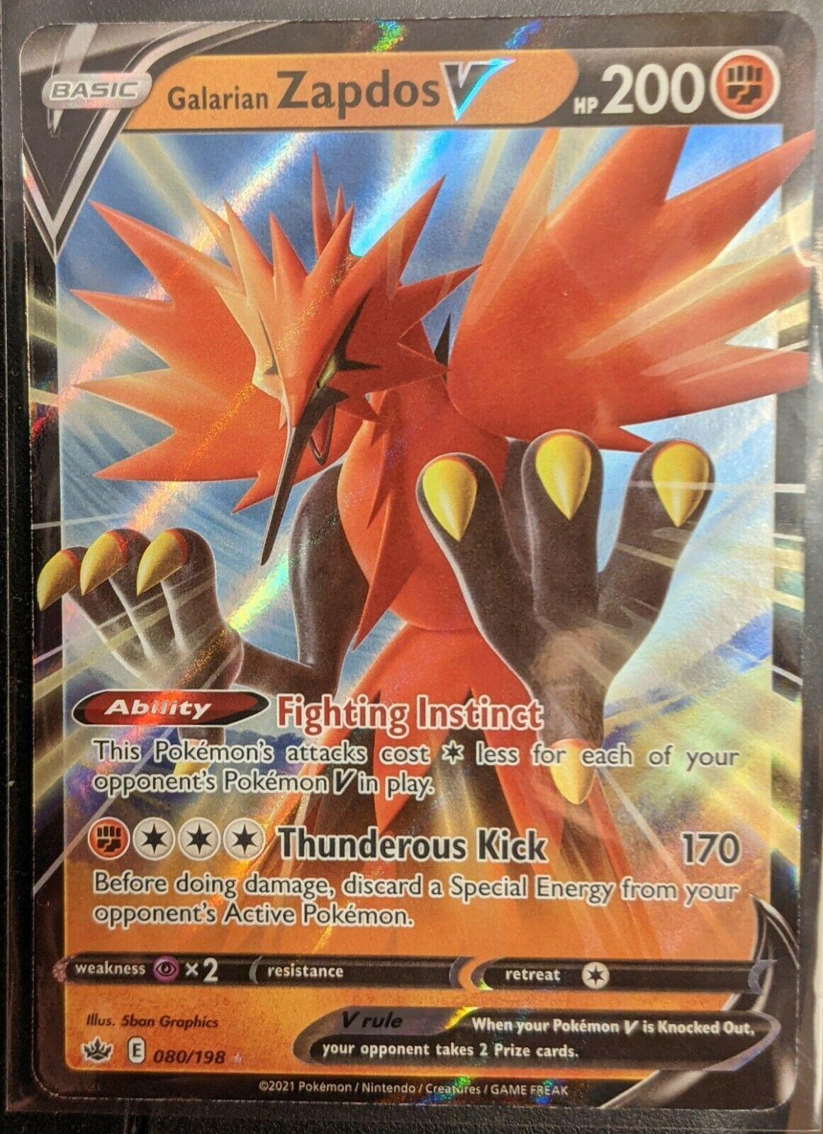 Galarian Zapdos V 080/198 Ultra Rare SWSH Chilling Reign Pokemon TCG