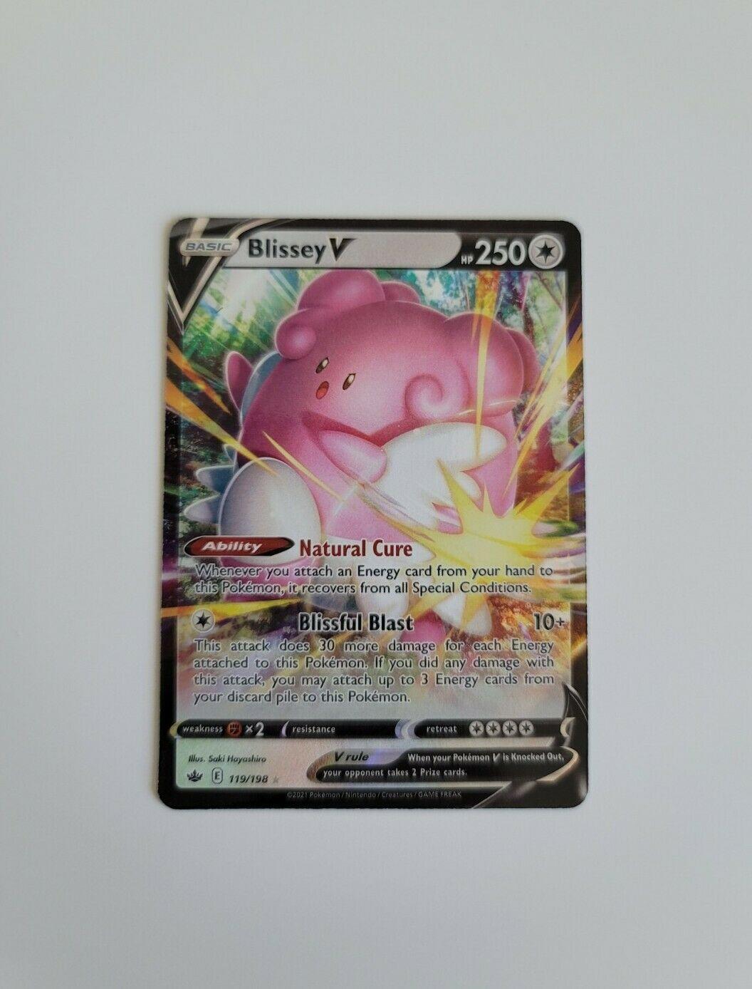 Blissey V 119/198 Chilling Reign Ultra Rare Holo Pokemon Card NM - Image 1
