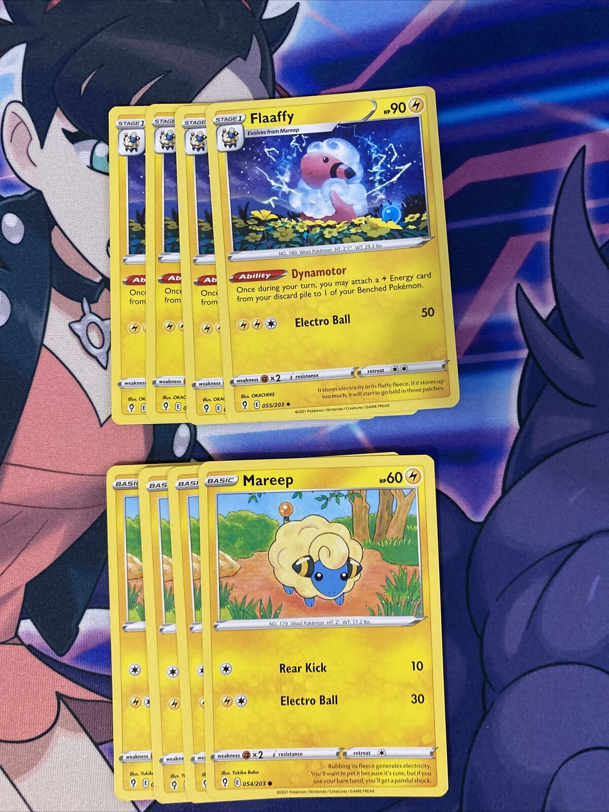 4x Flaaffy 055/203 And Mareep Evolving Skies Pokemon Card Play Set NM/M