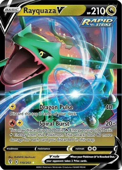 Pokemon - Rayquaza V - Evolving Skies - 110/203 - Ultra Rare NM Card - Image 1